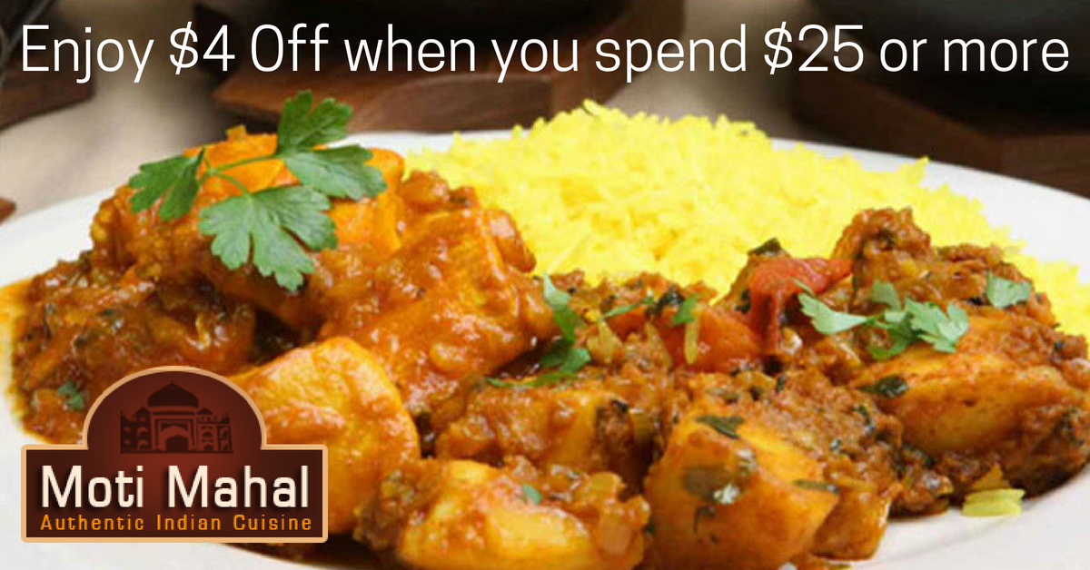 Enjoy $4 Off Any Dinner Menu Purchase Of $25 Or More At Moti Mahal!