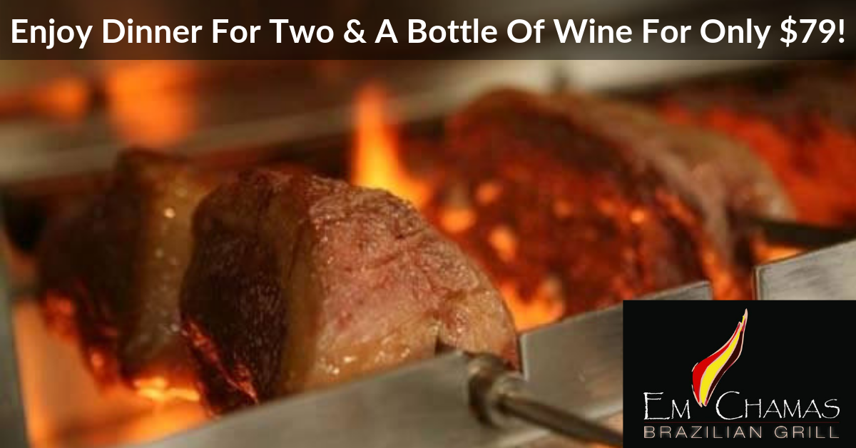 Em Chamas Brazilian Grill - Dinner for Two & a Bottle of Wine $79   $114